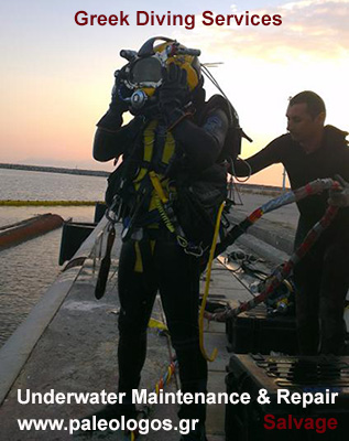 Greek Diving Services -  Diving Services in Greece. Underwater Maintenance and Repair. Salvage
