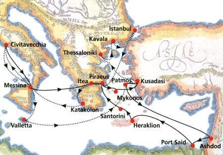 Italy, Malta, Greece, Turkey, Egypt, Israel