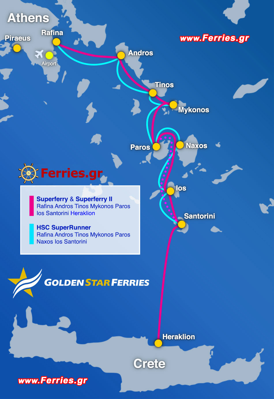 Golden Star Ferries Departures From Rafina To Andros Tinos