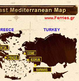 For all ferry schedules between >>Greek islands - mainland  << & >> Greece Turkey ferries <<  -  Click here to continue!