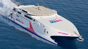 Mega Jet HighSpeed Catamaran. Departure from Heraklion - Crete to Santorini. SEA JETS ferries