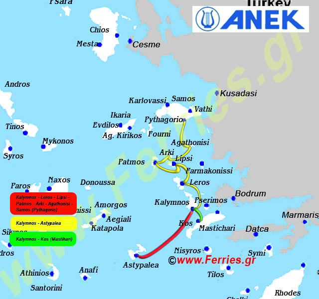 Ane Kalymnou Streckenkarte