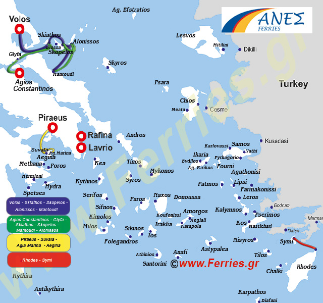 Anes Ferries Route Map