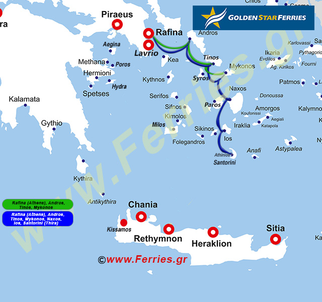Golden Star Ferries Route Map