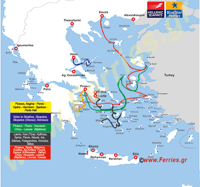 Hellenic Seaways Route Map