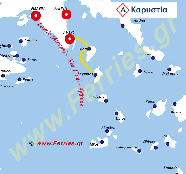 Karystia Lines Χάρτης δρομολογίων
