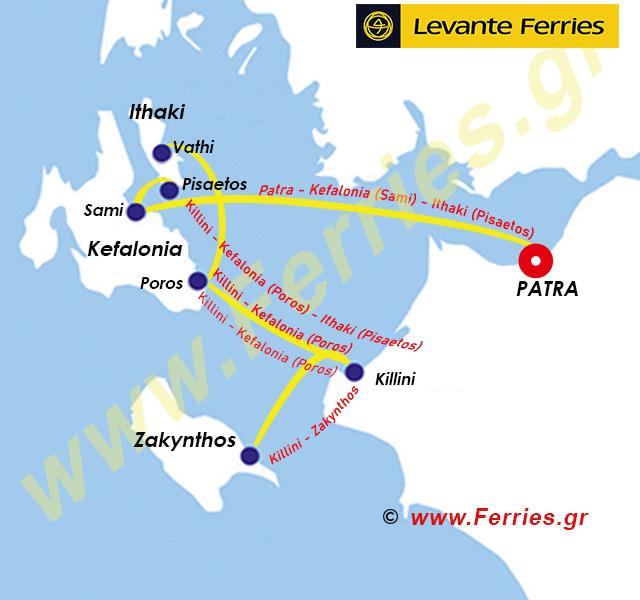 Levante Ferries Route Map