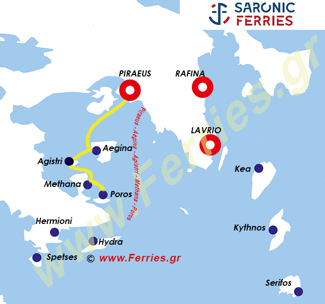 Saronic Ferries Route Map