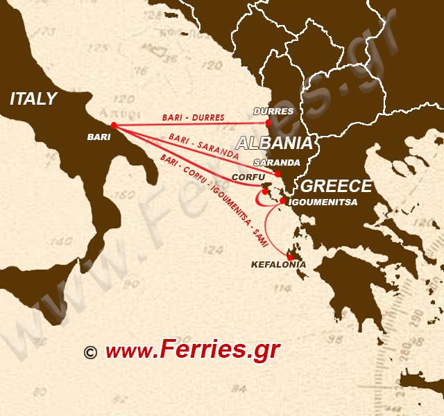 Ventouris Ferries Route Map