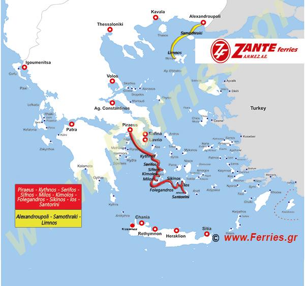 Zante Ferries Route Map