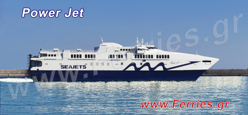 Sea Jets - Power Jet, schedules, prices, availability and online ferry ticket booking from Heraklon Crete to Santorini, Ios, Naxos, Mykonos, Paros.